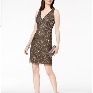 Adrianna Papell V Neck Sequence Dress
